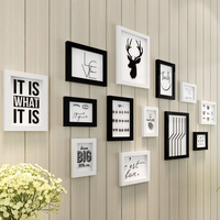 European 13pcs Set Black White Photo Frame For Family Picture Wall Decorative Wooden Picture Frame Sets