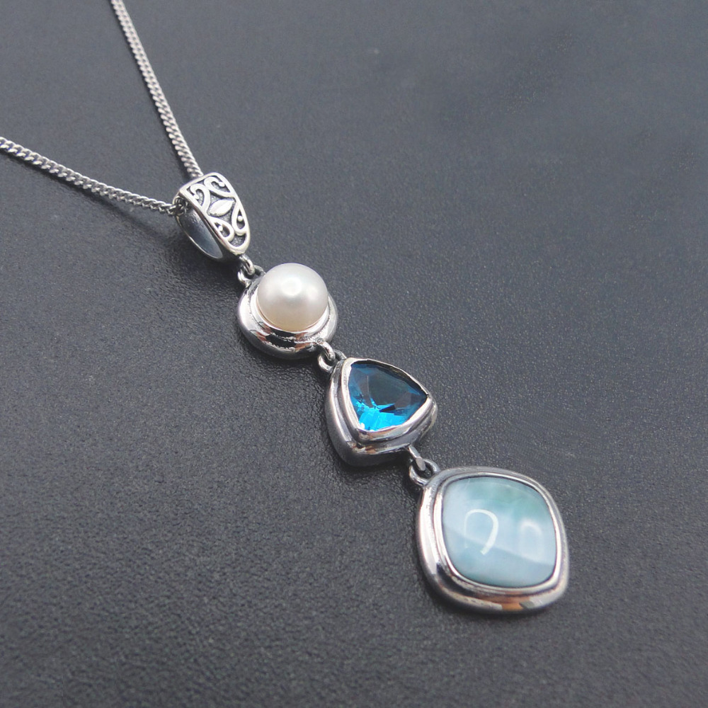 Natural Larimar 925 Sterling Silver Antique Design Blue Topaz Genuine Stone Pearl Charm Pendant Necklace For Women Gift