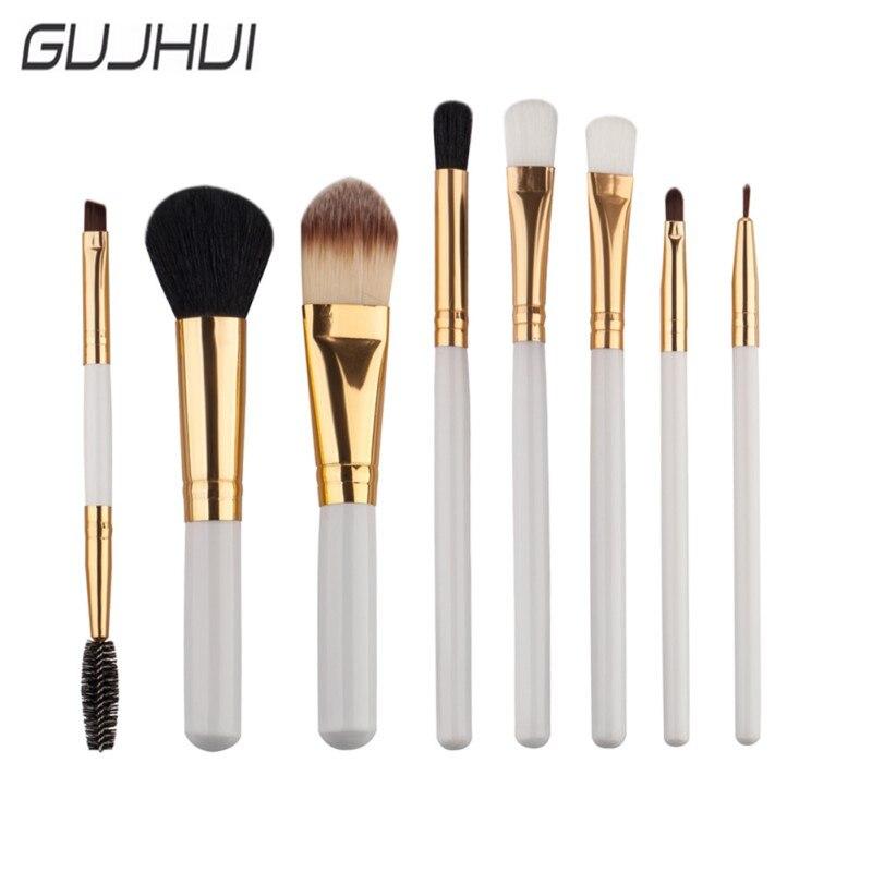 GUJHUI 2017 New Style 8PCS Wood Handle Powder Foundation Cosmetic Makeup Brush Blusher Eye Shadow Eyebrow Brushes Set Kits S9
