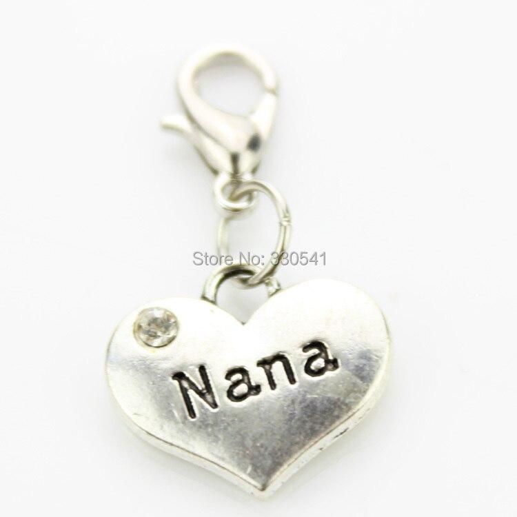 nana floating dangle charm lobster clasp alphabet
