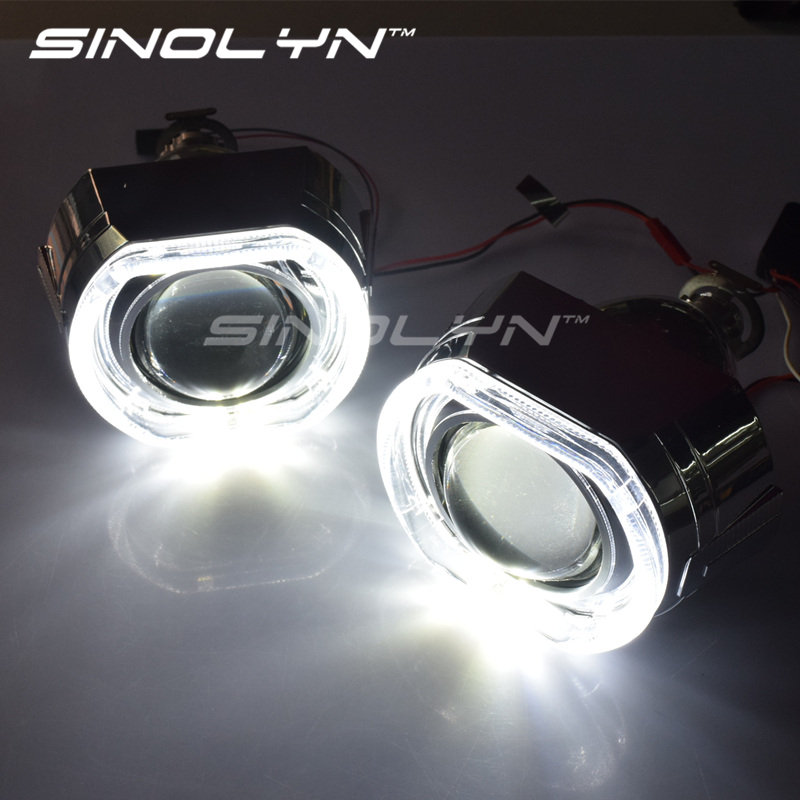 SINOLYN X5 Square LED Angel Eyes Devil Halo DRL Bi Xenon Lens Car Projector Headlight HID Auto Tuning Kit H4 H7, Use H1 Bulbs sinolyn led angel eyes car projector lens hid bixenon headlight devil evil eyes headlamp retrofit kit for car motorcycle styling