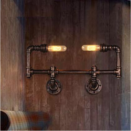 Retro Iron Water Pipe Edison Wall Lamp Metal Loft Style Vintage Industrial Wall Light Fixtures For Ailse Bar Home Lightings