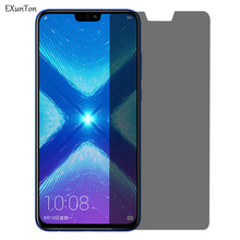 EXUNTON For Huawei Honor 8X Anti Spy Tempered Glass Privacy Black Screen Protector Max Protection Film