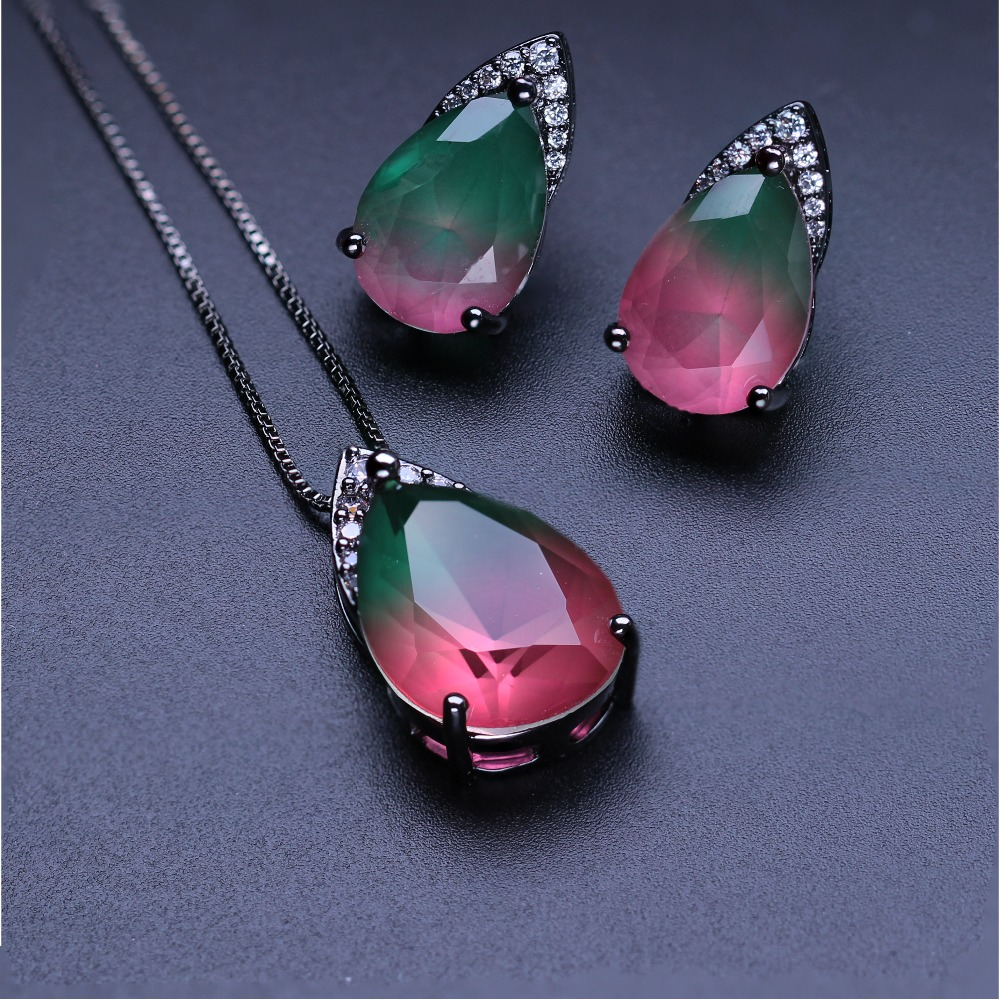 купить New fusion stone stude earring and pendant necklace set natural stone jewelry set for women party jewelry SFX0031452 по цене 1213.76 рублей