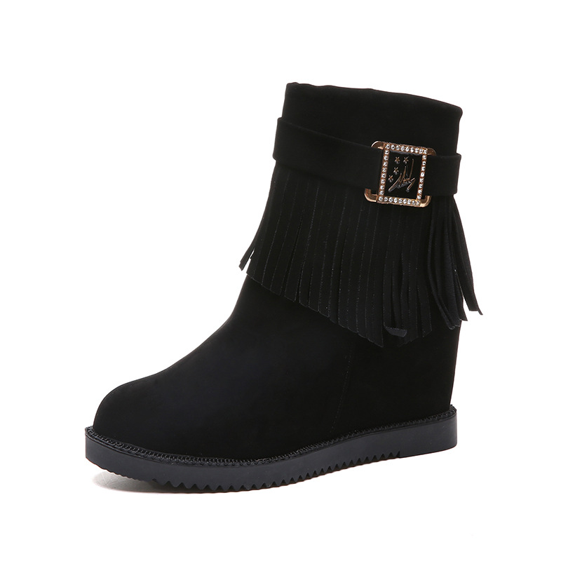 2018 autumn and winter new fashion increase tassels wild student casual womens booties black ljj 02252018 autumn and winter new fashion increase tassels wild student casual womens booties black ljj 0225