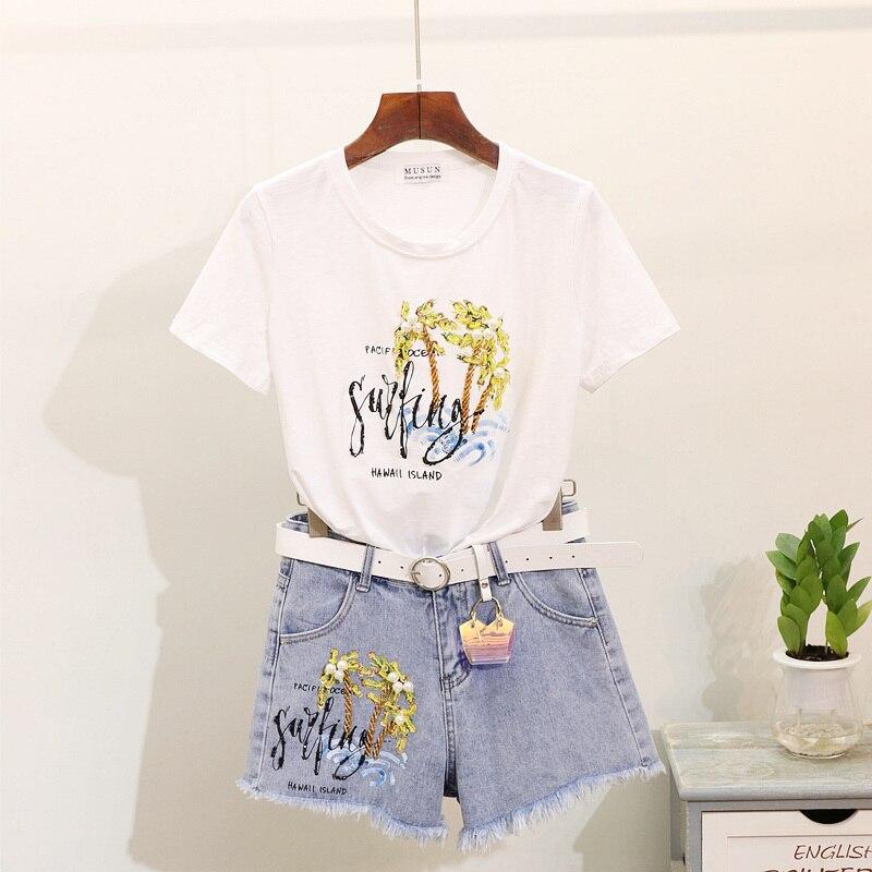 Style européen tissu d'été Femmes 2019 Nouveau Nail-perlé Paillettes De Noix De Coco Arbre t-shirt imprimé + short en jean Deux Pièces Lady Ensembles