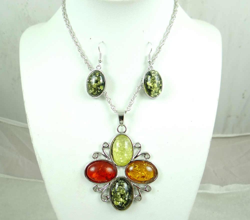 Moda szlachetne modernistycznych teardrop złoty miód wciśnięty Ambers naszyjnik kolczyk biżuteria dokonywanie zestawy darmowa wysyłka A12