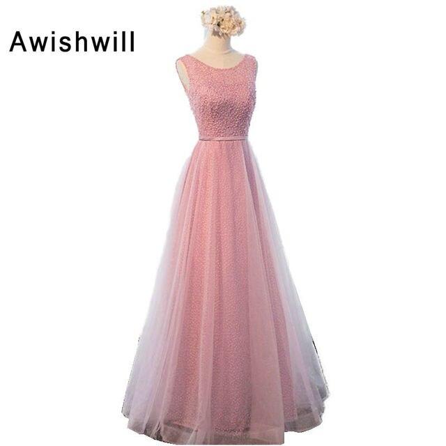 Nuevo Rosa larga Vestidos de baile vestido de festa Longo piso ...