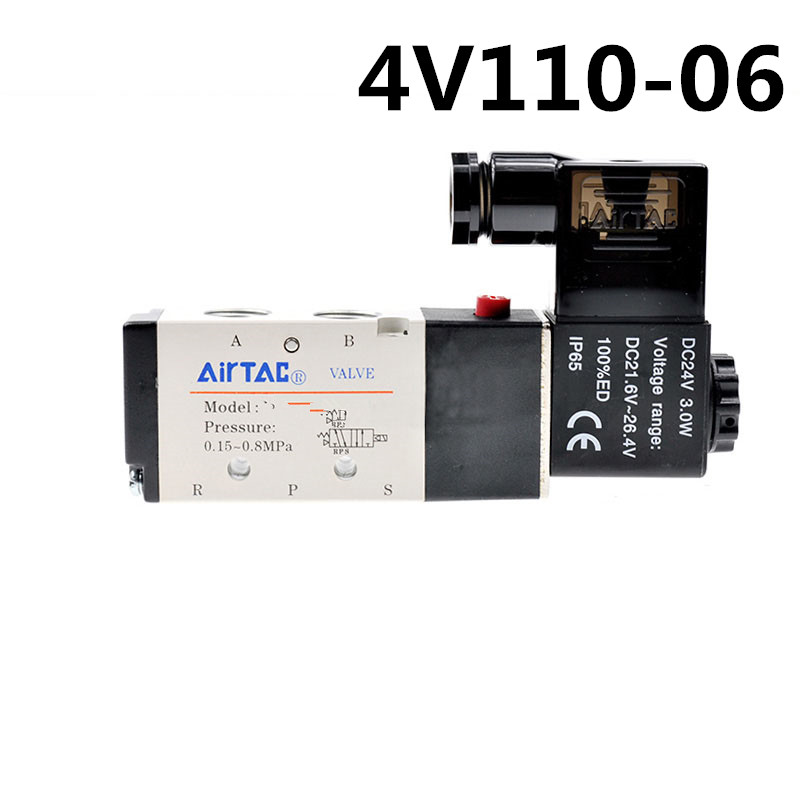2PC 4V110-06 Pneumatic Solenoid Air Valve 5 Port 2 Position 2/5 Way 1/8 BSP 4V110-06 With Wire DC 12V 24V AC110V 220V dc 24v 2 port 2 way 1 2pt female thread pneumatic electric solenoid valve
