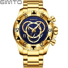 ساعات يد رجالي فاخرة من العلامة التجارية الأعلى باللون الذهبي ساعة يد من الفولاذ المقاوم للماء كوارتز ساعة يد عسكرية للرجال طراز 19New