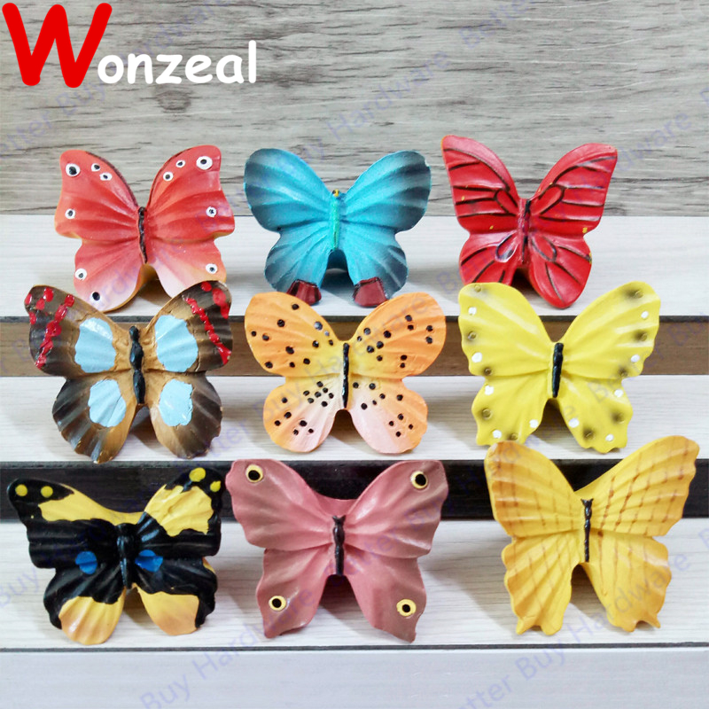 Butterfly Resin Furniture Single Knob Colorful Cute Lovely Pull For Children  Bedroom Kids Cabinet Closet Drawer Door Cupboard
