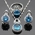 Luz Azul Branco Criado Topázio Conjuntos de Jóias Para As Mulheres de Cor Prata Pingente/Colar/Brincos/Anéis de Caixa Livre