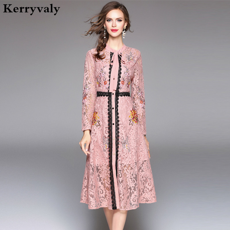 Autumn Hollow Out Pink Lace Dress Women Clothes 2018 Vestido De Festa Christmas Long Sleeve Black Midi Embroidered Dress K945088 autumn long lace dress cut out pink blue fit and flare sleeve bodycon tunic evening party midi dress european style