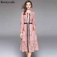 Autumn Hollow Out Pink Lace Dress Women Clothes 2018 Vestido De Festa Christmas Long Sleeve Black Midi Embroidered Dress K945088