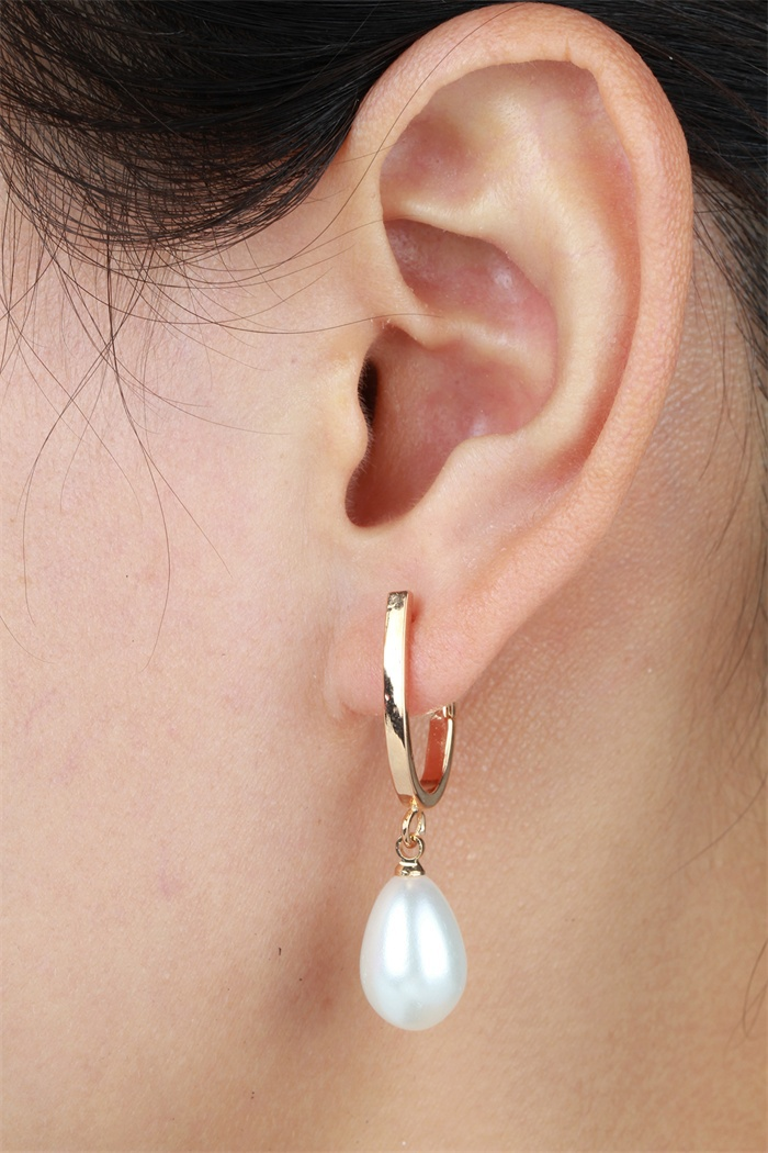 Gold Color U Circle Hoop Teardrop White Faux Pearl Drop Dangle Earrings For Women Penntes Aros Korean Party Jewelry Bijoux In From