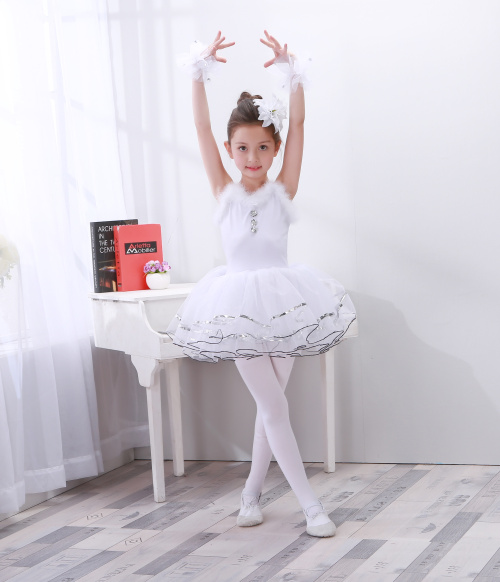 New Children's Performance White Swan Dance Costumes Girl Ballet Dress Professional Ballet Tutus For Kids