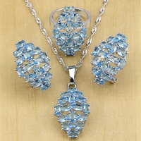 Blue Australian Crystal White Zircon Women 925 Sterling Silver Jewelry Sets Wedding Earring Pendant Necklace Ring