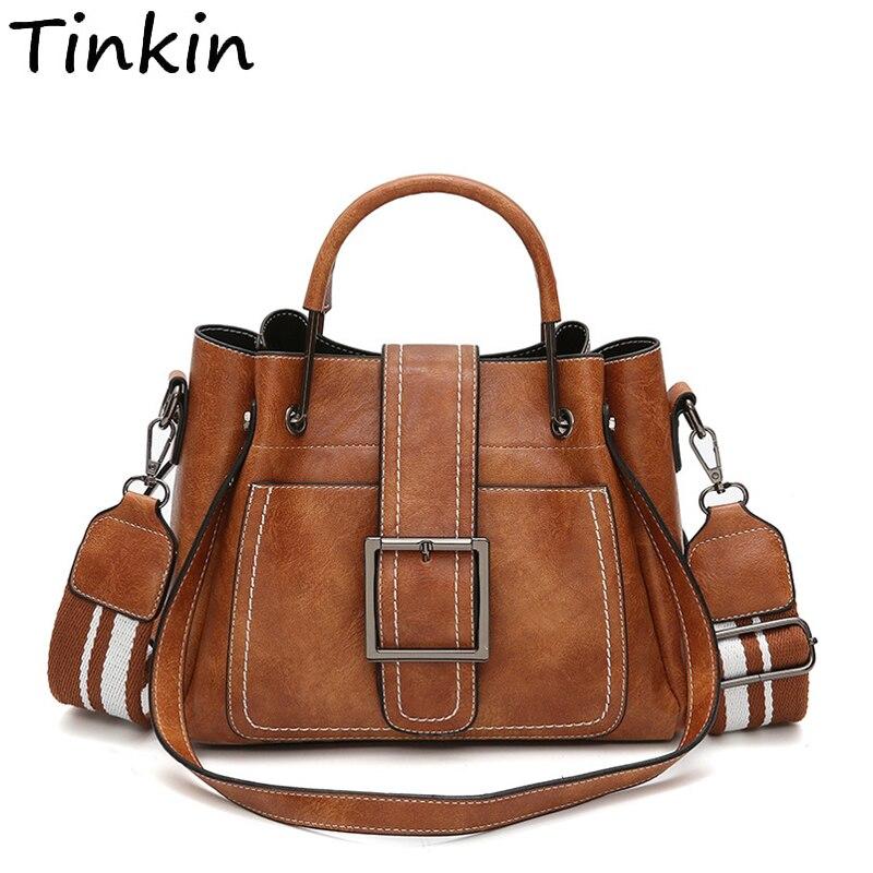 Tinkin Retro Dell'unità di elaborazione donne di cuoio della borsa più grande capacità di spalla delle donne