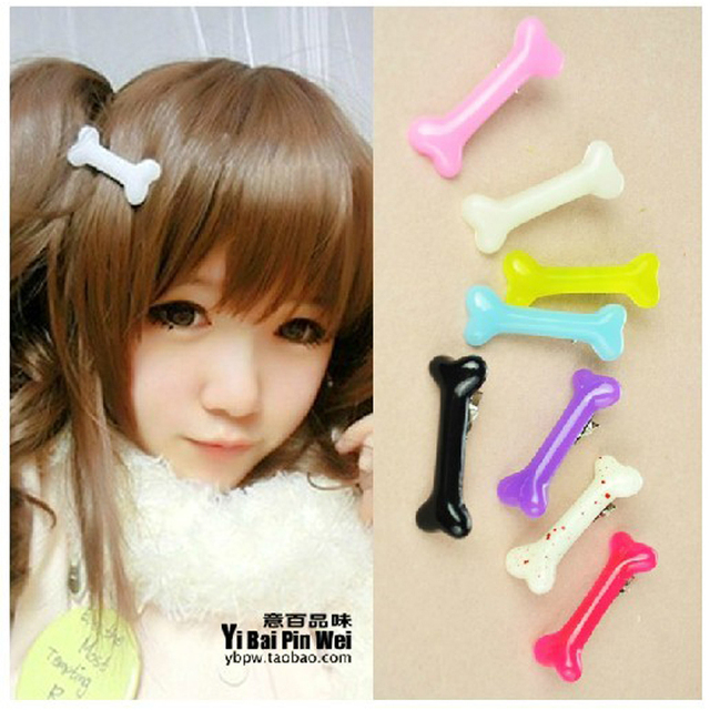 Harajuku fashion candy color barrettes luminous dog bone duckbill clips neon color side-knotted hair accessories