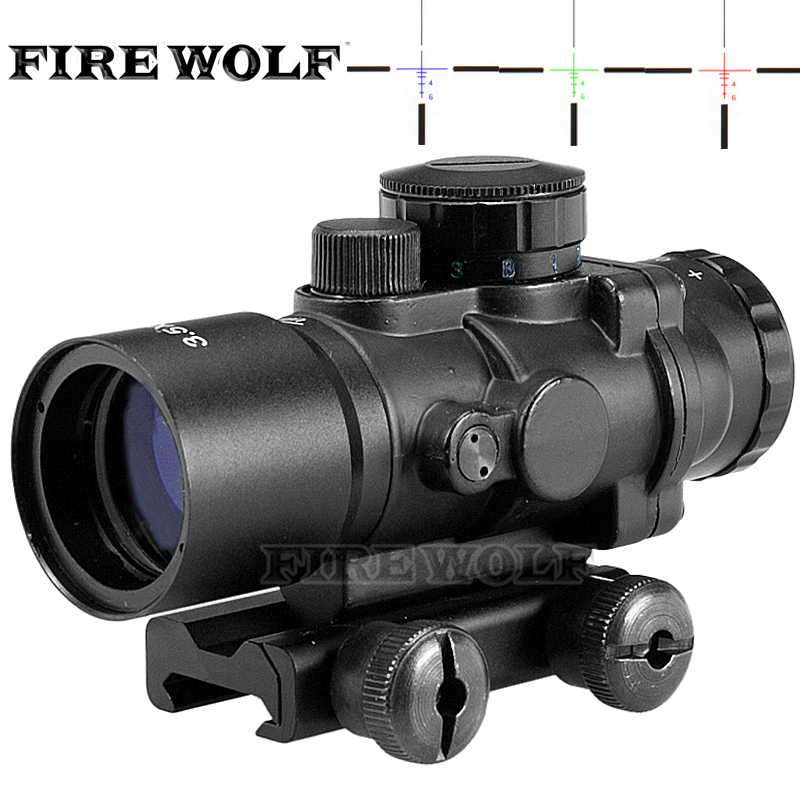 Hunting Riflescope Tactical 3.5X30 RGB Laser Sight Dot Red Tri-Illuminated Combo Compact Scope Fiber Optics Green Sight