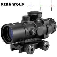 Hunting Riflescope Tactical 3.5X30 RGB Laser Sight Dot Red Tri Illuminated Combo Compact Scope Fiber Optics Green Sight