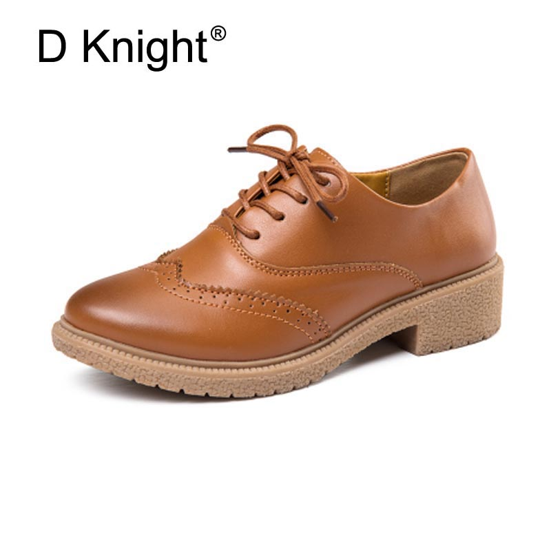 Hot Sale Kvinder Ægte Læder Oxford Sko Fashion Round Toe Lace Up Flat Ladies Oxfords England Style Brogue Oxfords For Women