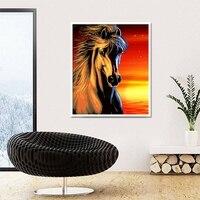 5D DIY Diamond Painting Morning Sun Horse Pattern Full Drill Resin Diamond Embroidery Needlework Mosaic Animal