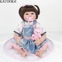 KAYDORA Reborn Baby силиконовая кукла с тканью для тела Игрушки для девочек с плюшевым медведем Реалистичная новорожденная кукла Aive новый год