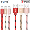 TOPK [3-Pack] Data Sync USB Cable for iPhone X 8 7 6 Plus 5 5s iPad Air Nylon Braided Metal Casing Charger Cable for iOS 11/10/9