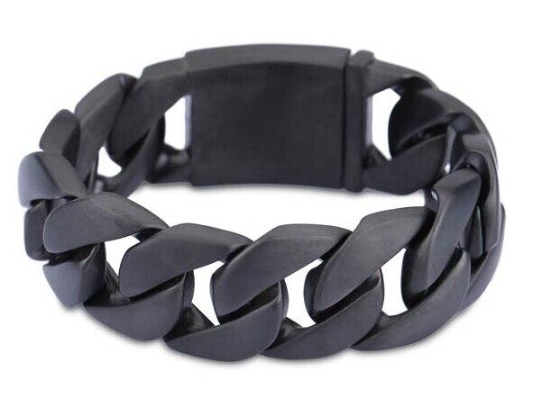 24mm Width Heavy Men Curb Cuban Link 316l Stainless Steel Matte Black Bracelet Punk Rock Anium Biker Bangle Jewelry In Chain Bracelets From