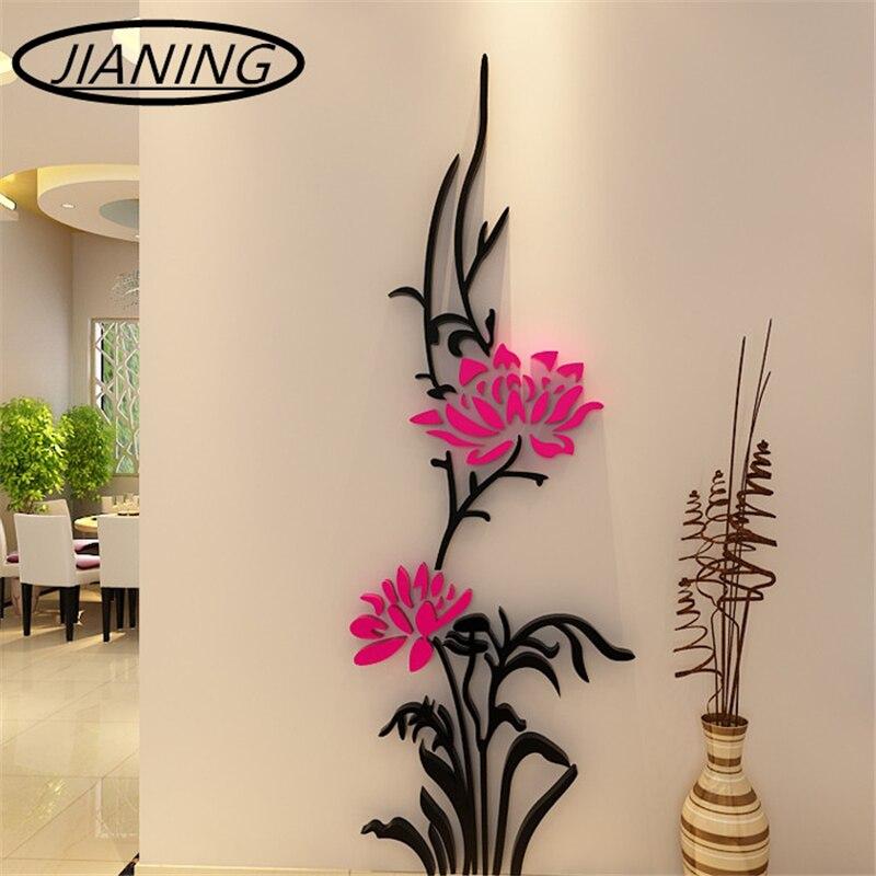 Barato videira lótus moderna decorativa da parede de cristal tridimensional adesivos de parede sala quarto TV cenário corredor de entrada