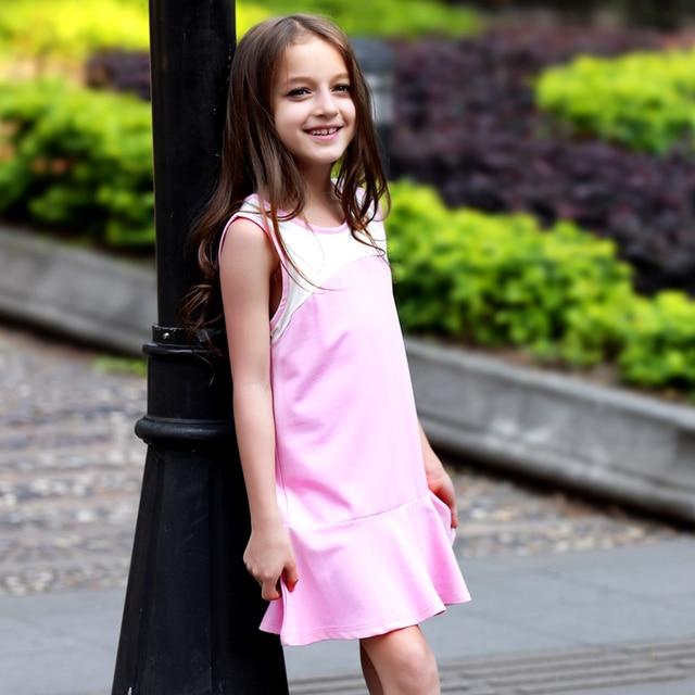 Otroške poletne obleke Teen Girls Casual A Line Dress Simpatični športni vetrovi Girl Childrens-2547