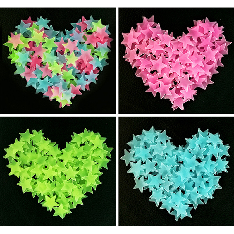 50pcs/bag 3cm Glow In The Dark Toys Luminous Star Stickers Bedroom Sofa Fluorescent Painting Toy PVC Stickers For Kids Room