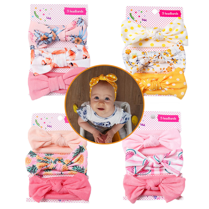 3Pcs/Set Baby Bows Elastic Headband Unicorn Flamingo Swan Print Baby Headbands For Girls Hair Accessories Floral Baby Turban