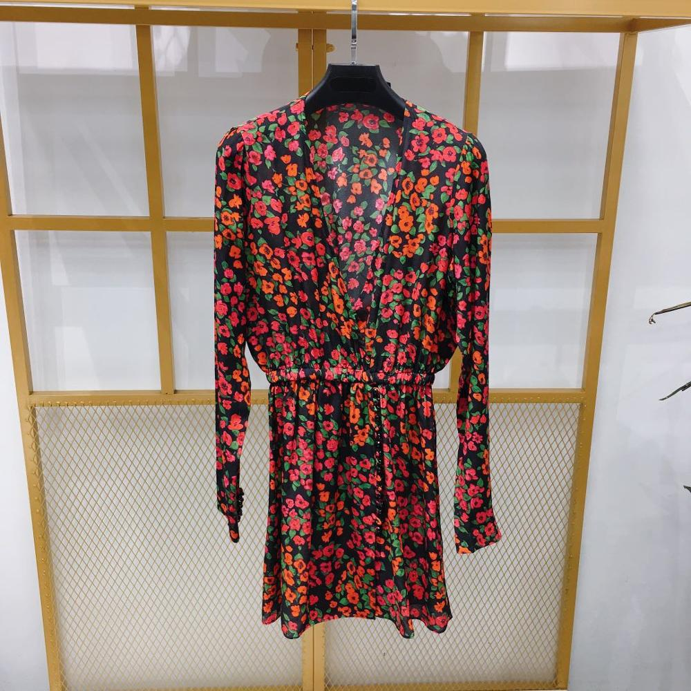 Women Dress 2019 Red Print Long Sleeve V Neck Romantic Temperament Silk Mini Dress