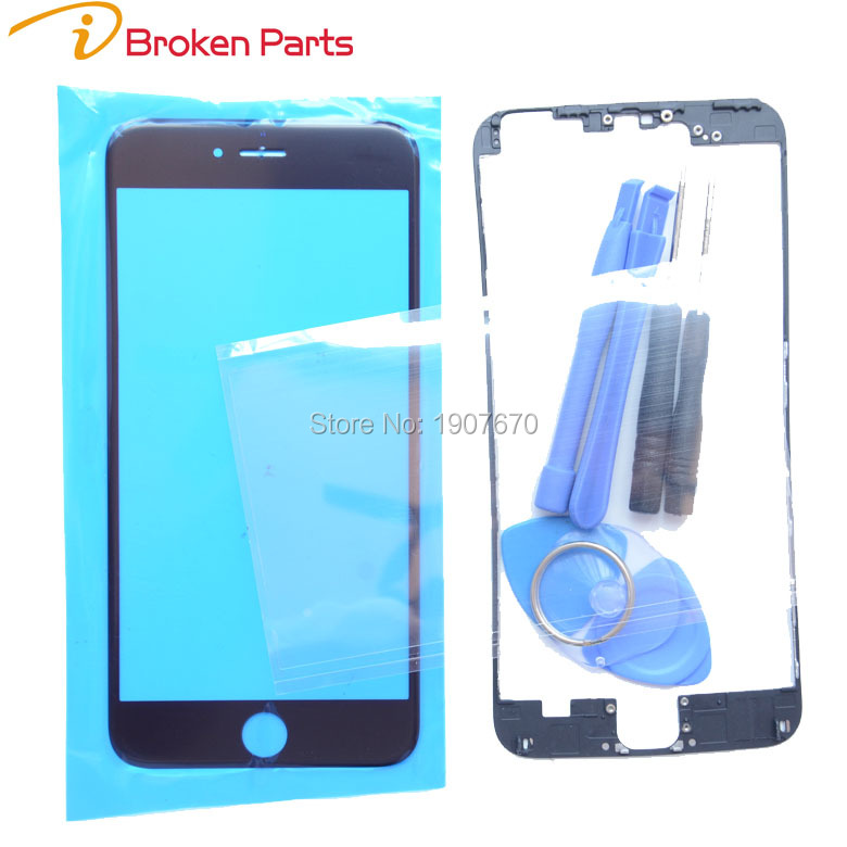 A+Touch Panel For iPhone 6 6s Plus 5 5s 5c Front Screen Lens Outer Glass+Middle Frame Bracket+OCA Repair kits Replacement Part