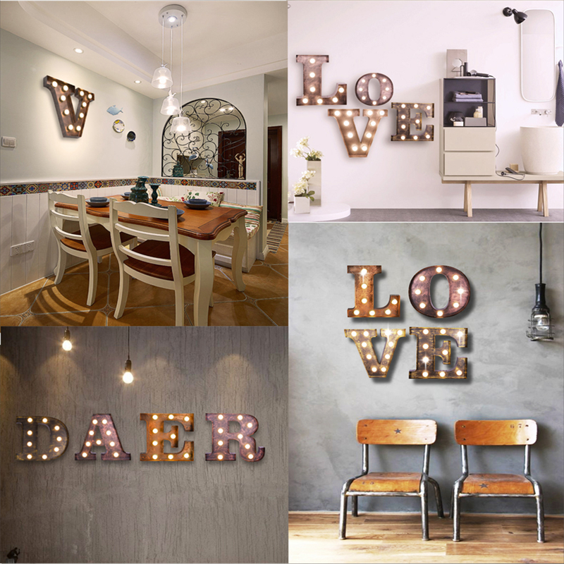 FUMAT Metal Letter Light American Bar Cafe Letters Q Wall Lamps
