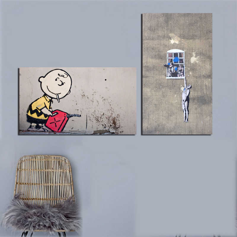 Banksy Naked Man Crashe The Mild Mild West Street Art Graffit Canvas Picture Paintings For Living Room Poster Wall Home Decor
