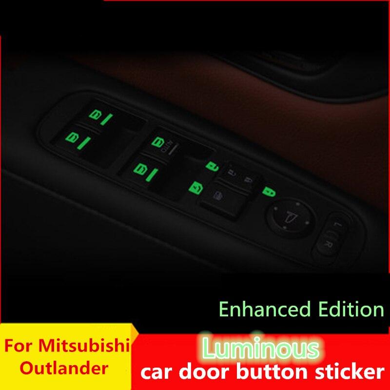 Luminoso porta do carro janela elevador botão da janela luz vara para a janela do carro adesivo para mitsubishi asx outlander 2013 2016 2018