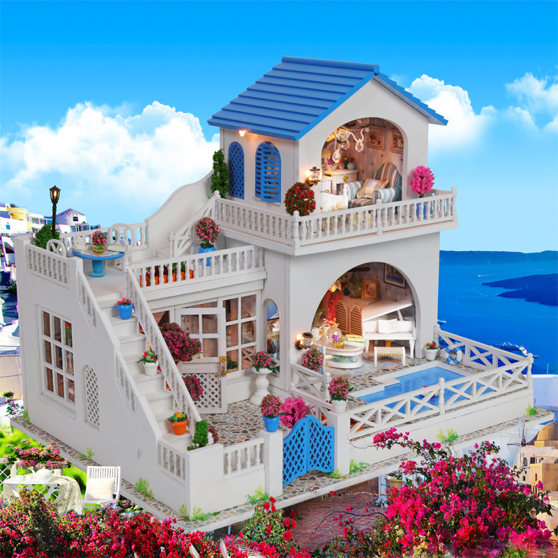 Oyuncaklar ve Hobi Ürünleri'ten Oyuncak Bebek Evleri'de DIY Ahşap Ev Oyuncak DIY Ahşap Miniatura Bebek Evleri Minyatür Dollhouse oyuncakları LED Işıkları doğum günü hediyesi'da  Grup 1