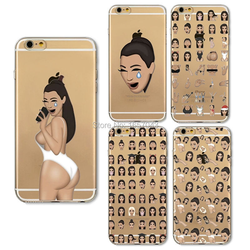 Kim Kardashian Kimoji Ugly Crying Face Case For iPhone 6 6s Plus 7 7Plus 5s 5 SE Transparent Soft TPU Cell Phone Cases Cover
