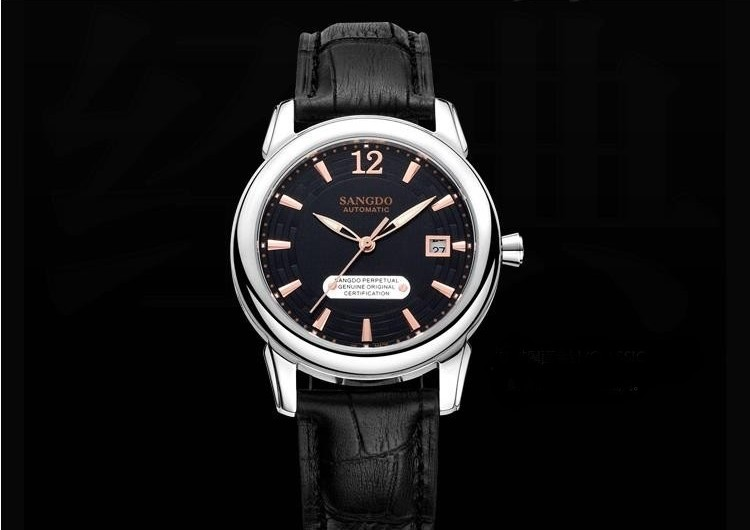 40mm Sangdo Luxury watches Automatic Self-Wind movement Sapphire Crystal Black dial High quality Auto Date Men's watch 7A original binger mans automatic mechanical wrist watch date display watch self wind steel with gold wheel watches new luxury