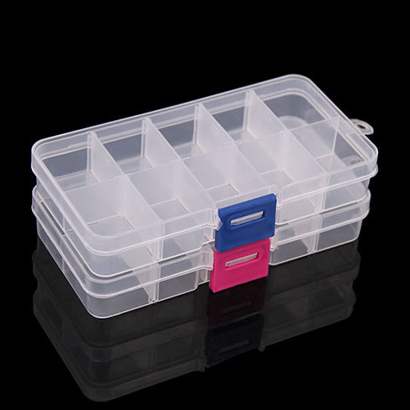 1pcs Box Plastic Storage 10 Jewelry Case Organizer 6 Adjustable Bead Slots Container Beads Clear Craft Grid Compartment