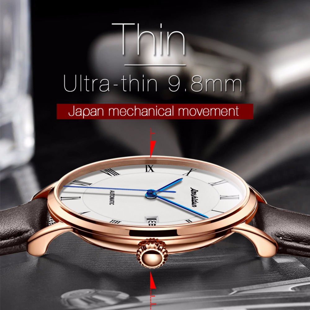Automatic Watch Men date Luxury Leather Mechanical Watches men luxury brand fashion watch 2018 Relogio masculino bayan kol saati|saati| |  - title=