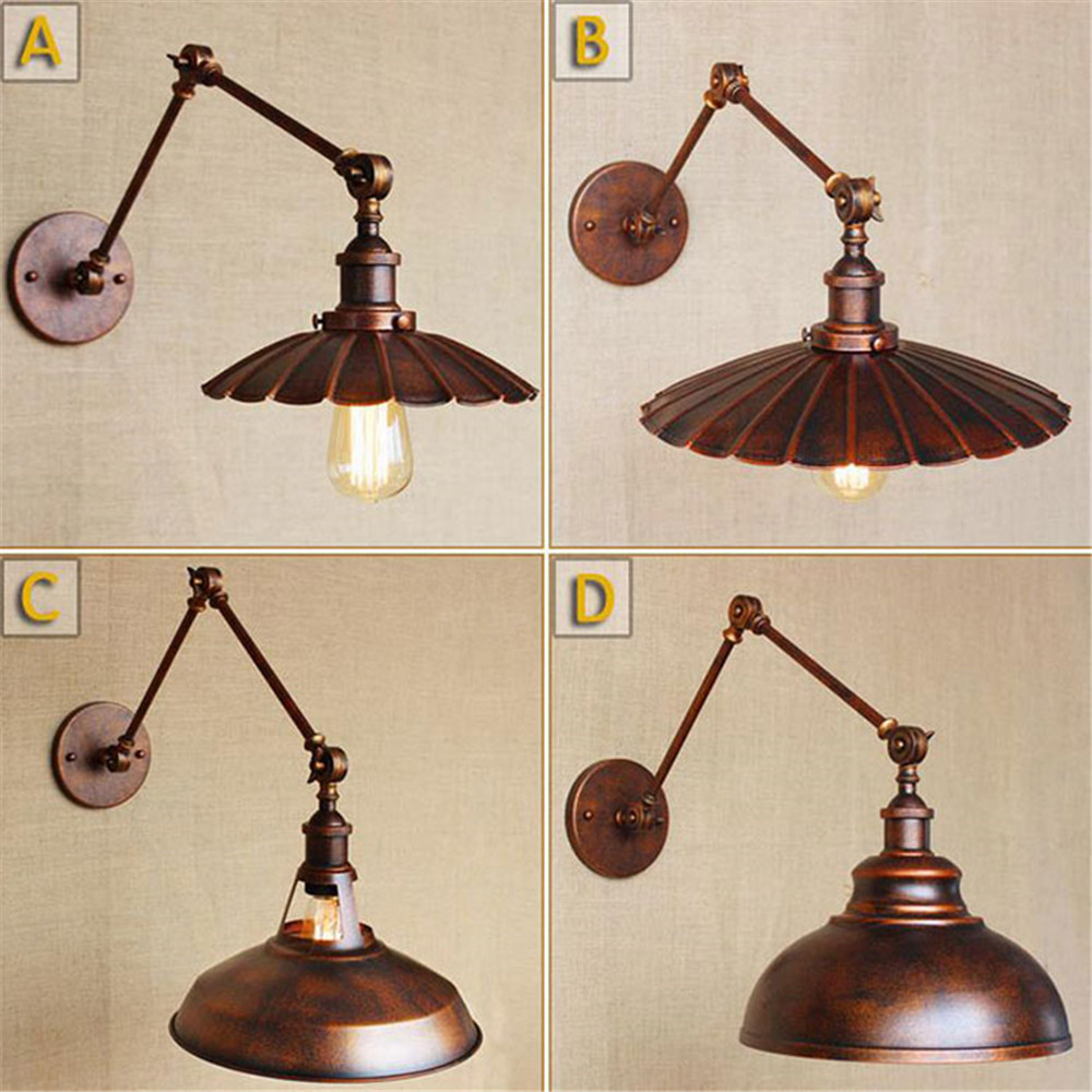 Unique Wall Lighting: Retro Iron Wall Lamp Wrought Industrial Loft Lamps Wall