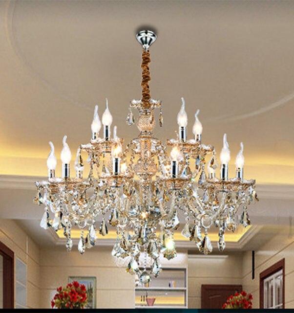 12 15 18 pcs large Antique cognac crystal pendant chandelier crystal  chandelier led silver candle light Bohemian dining room luz - Online Shop 12 15 18 Pcs Large Antique Cognac Crystal Pendant