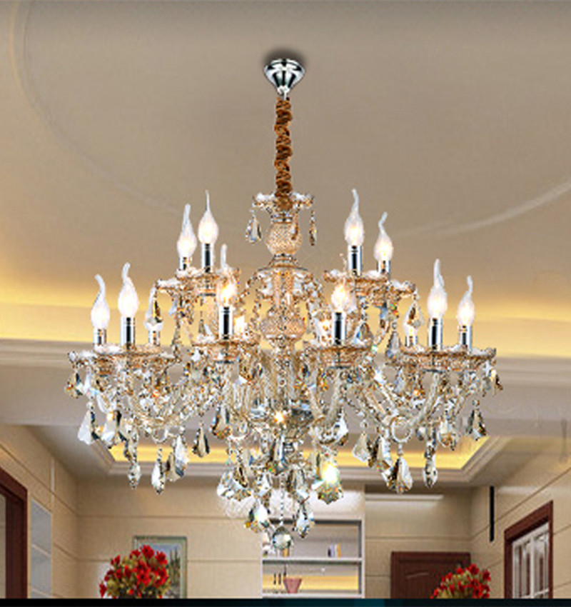 12 15 18 pcs large Antique cognac crystal pendant chandelier crystal chandelier led silver candle light Bohemian dining room luz