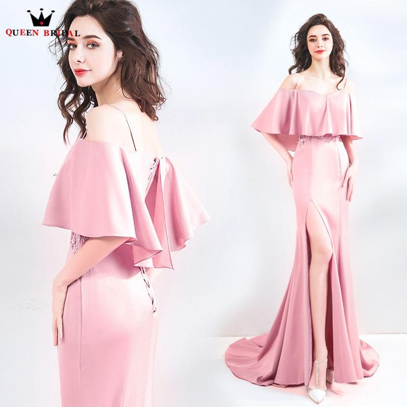 Sirène Cape fente jambe Sexy Simple longues robes De soirée rose 2018 nouveauté Robe De soirée Robe De soirée JU41