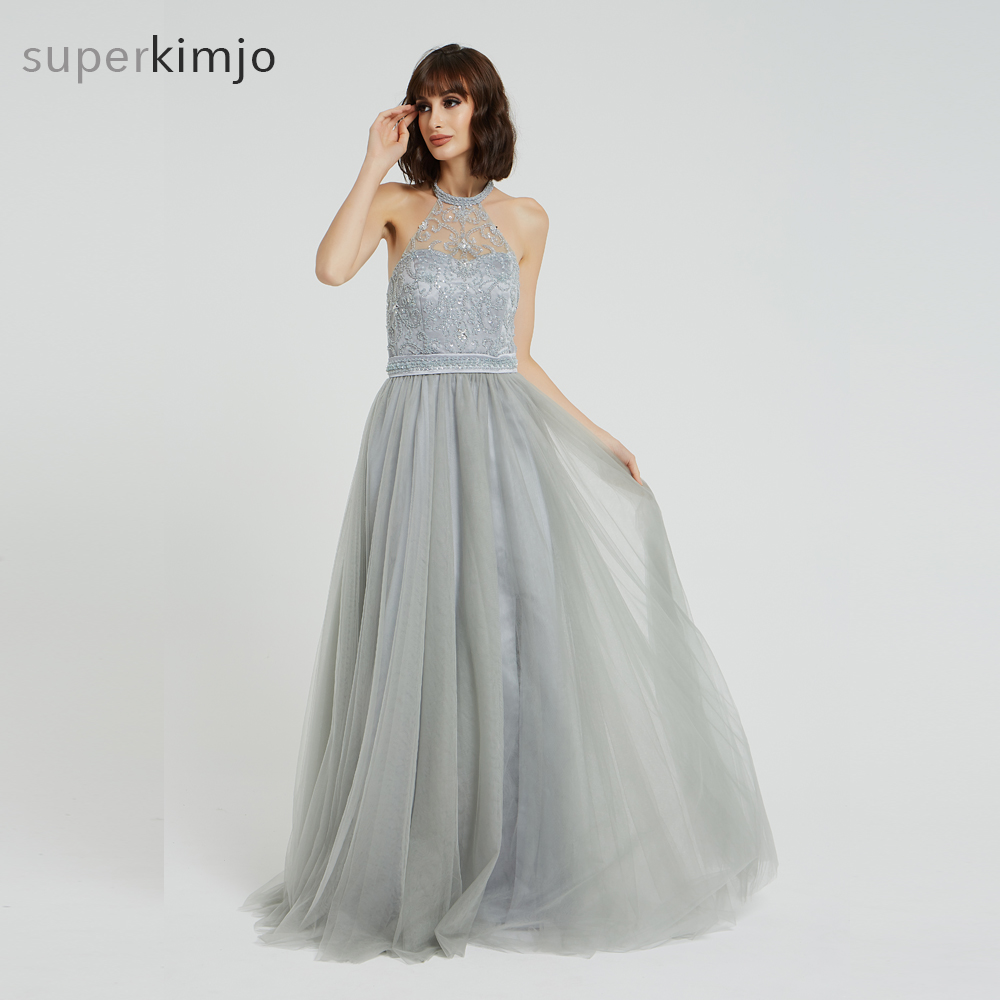 Kimjobridal Real   Prom     Dresses   2019 Sheer Bodice Beaded Tulle A Line Floor Length Tulle Grey Evening   Dresses