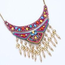 30434bb7b6c5 Geométrica de las mujeres gran collares y colgantes multicolor boho étnico  collar tribal oro color maxi declaración de joyería d.